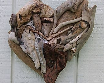 Wood Anniversary Heart Hand Made Driftwood Art Wall Hanging Heart Beach Wedding Decoration