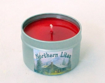 Cherry Candle, soy candle, candle tin, 4 oz candle, decorative candle, scented soy candle, red candle, tin candle, red candle, travel candle