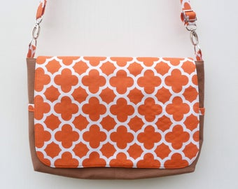 Chocolate and Orange Messenger Bag , Canvas Messenger Bag, Cross body bag, Handbag, Brown Canvas Bag, Every Day Bag, Shoulder Bag, Nappy Bag