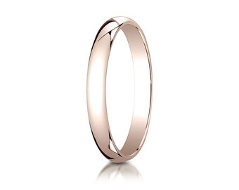 3MM Classic Domed 14K Rose Gold Band Men's or Women's Basic Wedding Ring with Custom Engraving Half Round Plain