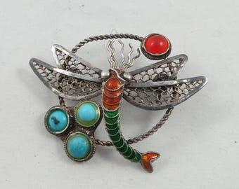 Vintage Sterling Enamel Filigree Dragonfly Brooch Pin
