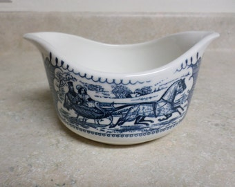 Currier and Ives 2 lipped Gravy Boat Sleigh Ride Scene