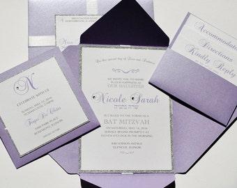 Sparkle Bat Mitzvah Invitations, Glitter Bar Mitzvah Invitation, Birthday Invitation, Party Invitation, Custom Designed Invitation,