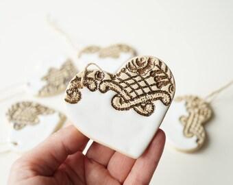 Heart Ornament, Guest Favors, Wedding Favors, Party Favors, White Heart, Hanging Ornament, Wedding Day Decor, Ceramics and Pottery, Set of 6