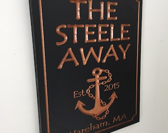 OUTDOOR Wooden Signs, Marina Signs, Lake house, Personalized Sign, Anchor, Nautical Theme, Boating zsign, Custom Wood Signs Benchmark Signs