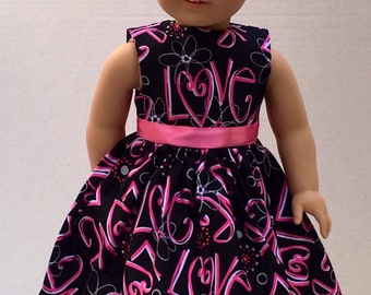 """American Made Girl Doll Clothes Dress Fits 18"""" Doll- LOVE LOVE LOVE ...Valentine's Day"""