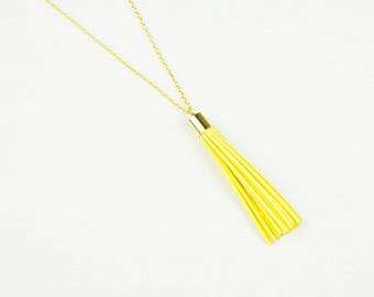 Long Necklace with Mustard or Lemon Yellow Tassel