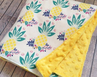 Mod Pineapple Minky Baby Blanket - Made To Order