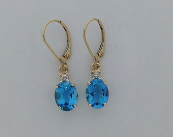 Natural Blue Topaz with Natural Diamond Dangle Earrings Solid 14k Yellow Gold