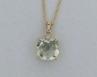Natural Green Amethyst with Natural Diamond Pendant Solid 14kt Yellow Gold