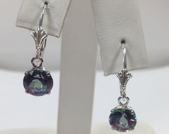 Natural Mystic Topaz Dangle Earrings 925 Sterling Silver