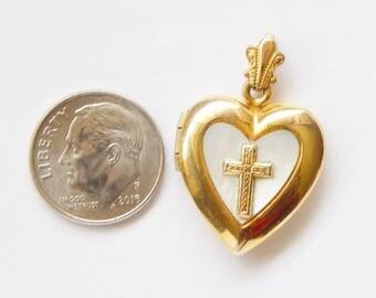 Gold Heart Locket Pendant Gold Cross On Mother Of Pearl - 1/20 K GF