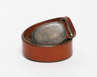 vintage Eddie Bauer southwestern leather belt boho hippie distressed belt buckle M