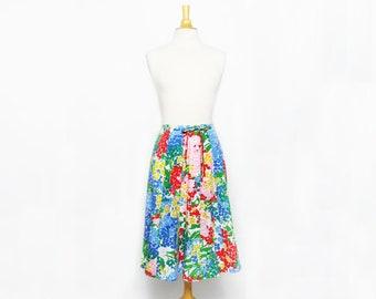 SALE - vintage 80s colorful floral flower boho indie hippie spring skirt
