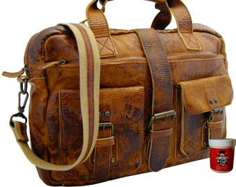 Men's top-handle bag - Briefcase LAVOISIER made of brown Rugged-Hide-leather