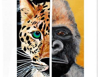 Original Endangered Animal Acrylic Paintings - Amur Leopard on Left and Western Lowland Gorilla with Metallic Paint Details