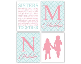 Marvelous Sisters Bedroom Wall Art | Girls Playroom Art | Girls Bathroom Decor |  Sisters Monogram Wall