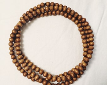 Wood Bead Wrap Necklace Brown