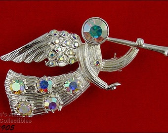 Eisenberg Ice Trumpeting Angel Silver Tone with Aurora Borealis Rhinestones Pin (Inventory #J905)