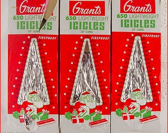 Vintage New Old Stock Grants Lightweight Christmas Tree Icicles (Inventory #CH1633)