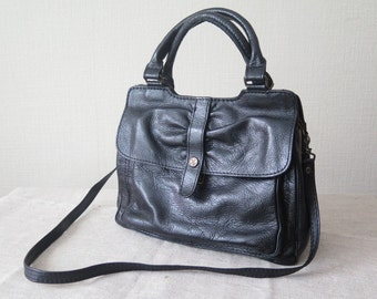 Vintage Leather Handbag Black Retro Shoulder Bag with Shoulder Strap and Velvet Lining @221
