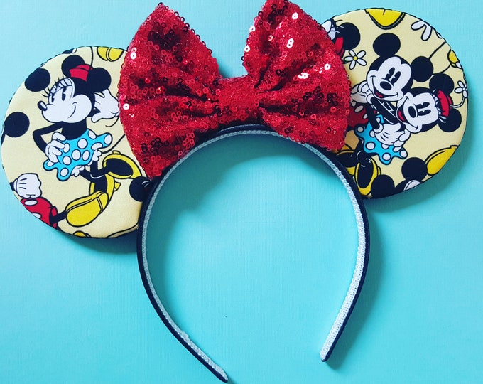 Mouse Ears Classic Minnie and Mickey Mouse || Mouse Ears || Mouse Ears Headband || Minnie Mouse Ears || Sparkle Mouse Ears || RTS