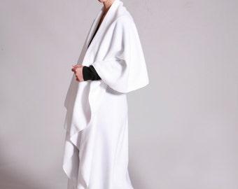 Fleece  Cape, White Wrap Cape, Wedding Cape, Wrap Cardigan, Long  Cape Jacket, Midi, Womens Cloak, Bridal cape