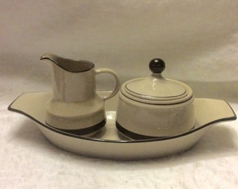 Freezer to oven stoneware made in Japan sugar bowl creamer platter. Free ship to US