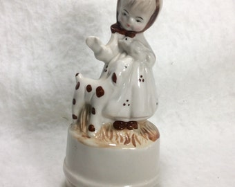 Raindrops keep falling on my head music box. Little girl with bird and lamb. Free ship to US