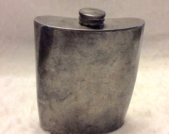 Antique pewter flask. Made in England by Brooks Bros. WWII? Free ship to US