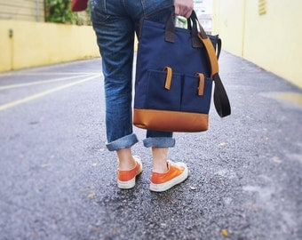 Canvas Leather Tote/ Sling bag/ Laptop/ Business Bag in Navy Blue with Leather Base and Shoulder Pad