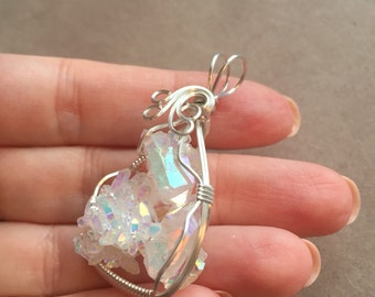 Opal Aura Angel Aura Quartz Small Crystal Cluster Sterling Silver Wire Wrapped Pendant