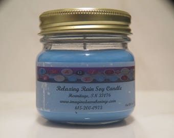 Soy Candle - Relaxing Rain Mason Jar Scented Soy Candle - Fresh Scent Candle
