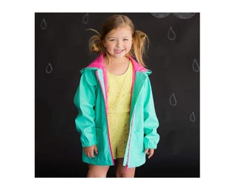 Girls Rain Jacket - Monogram Rain Jacket - Mint Jacket - Personalized jacket - Full Zip raincoat