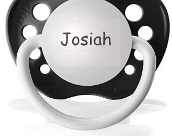 Black Pacifier - Josiah Binky - Personalized Baby Soother - Little Boy Dummy - Custom Name Pacifier - Engraved Gift for Baby Boy - Soothie