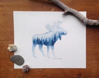 Bright Blue Moose - Original Watercolor Painting