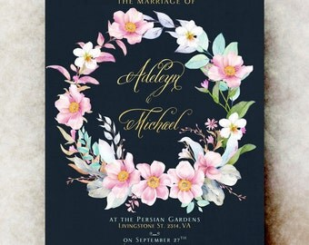 Floral Wedding Invitations printable - elegant wedding invitation, printable wedding invitation, pink blue wedding invitation