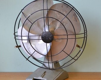 Vintage fan mid century Meidensha mint green No 765