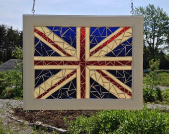 Stained Glass Union Jack Flag Mosaic Panel - United Kingdom Flag Stained Glass Panel - Patriotic British Decor - Union Jack Stained Glass