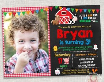 Farm Barnyard Printable Birthday Invitation - Photo Card - Digital JPG File, You print - 5x7