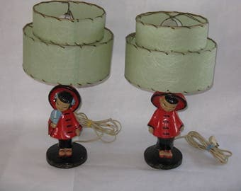 Pair Mid Century Modern Asian figurine plaster/ceramic lamps with original tiered fiberglass shades small dresser/accent