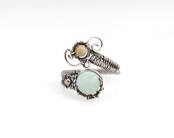 Amazonite and Impression Jasper Adjustable Ring, Sterling Silver, Wire Wrapped Boho Ring
