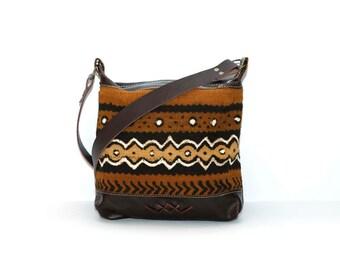 Brown Leather Boho Bag - Brown Leather Shoulder Bag- Ethnic Leather Shoulder Bag - African Mud Cloth