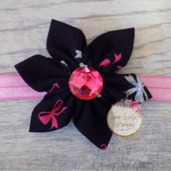 Large black with bows Fabric Flower Headband | Baby Girl | Hand Sewn