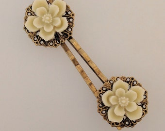 Cream Blossom Hair Pins - Pair of Bobby Pins with Filigree and Ivory Cherry Blossom