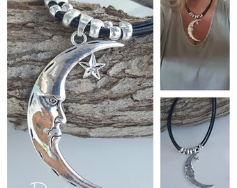 beaded leather necklace, half moon, star pendant