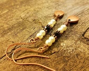 Boho Earrings, Pearl Earrings, Metal Earrings, Copper and Pearls, Dangle Earrings, Drop Earrings, Victorian Earrings