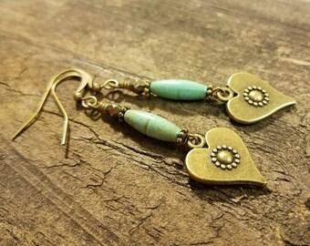 Boho Earrings, Heart Earrings, Valentine Earrings, Bronze Earrings, Handmade Earrings