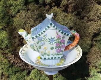 Bird Feeder, Repurposed Garden Art, Garden Whimsy, Teapot Decor,  Garden Totem, Decorative Birdfeeder,  Garden Accent – Beehive Cottage