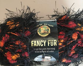 Discontinued Lion Brand Fancy Fur - Super Bulky weight - Eyelash yarn w/a poof of color - #2952 Jungle Print
